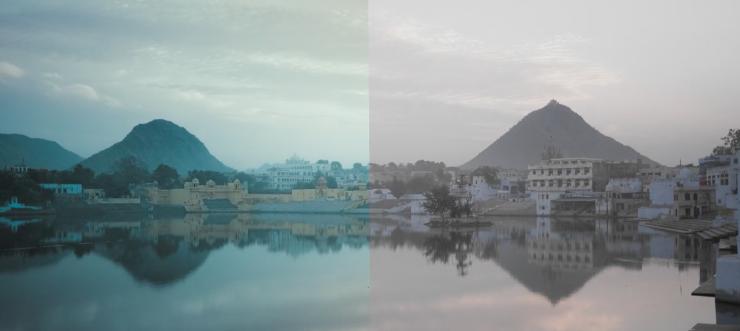 paisaje montaña lago color postproducción espacio nolich etalonaje